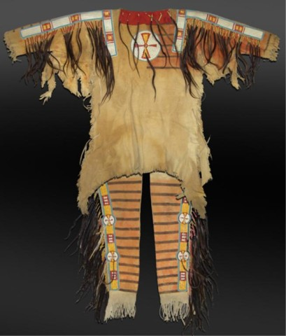 This Mandan painted hide complete warshirt set will be auctioned Nov. 9th-10th.