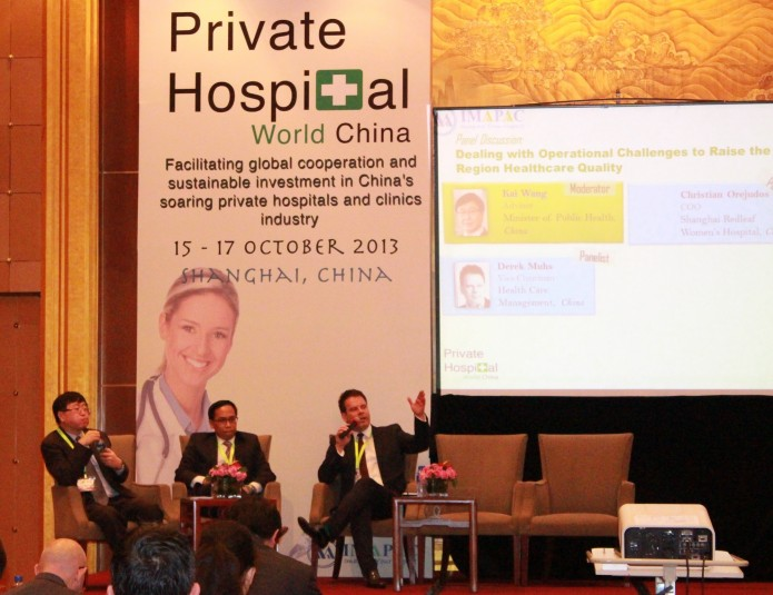 Derek Muhs on panel discussion at Private Hospital World China Conference