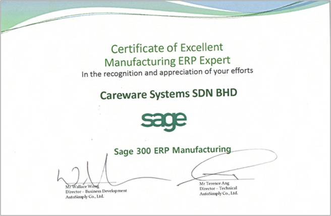 Sage 300 Manufacturing Expert - Excellence Award