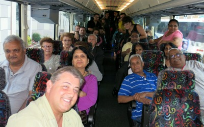 Participants on the Lou CostelloTent bus trip to Atlantic City