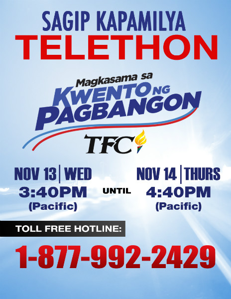 TFC holds its live telethon fundraiser on Nov 13-13 for Typhoon Haiyan victims