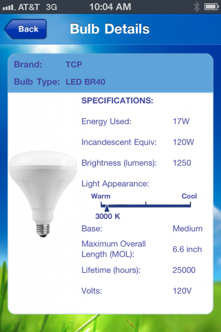 The app displays complete specifications for each bulb recommendation.