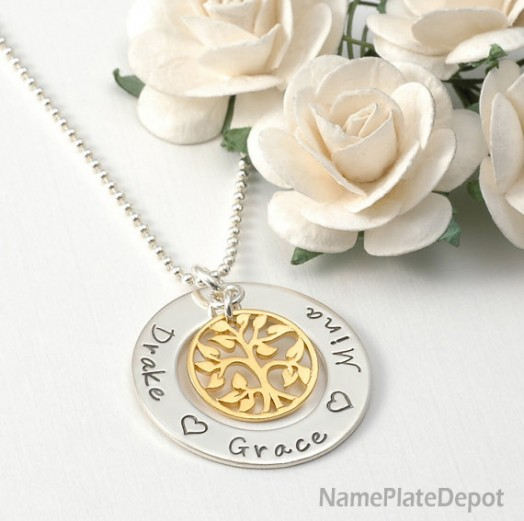Family Tree with Name Pendant