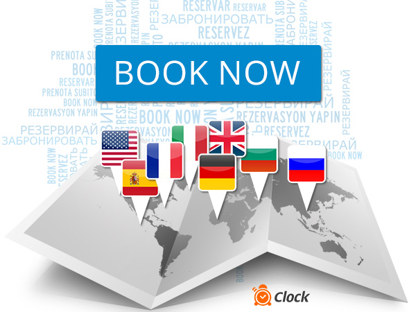 Multilingual hotel reservation system Clock Sky