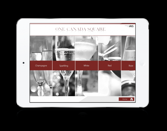 OneCanadaSquare iPad wine menu