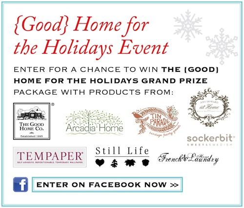 Good Home for the Holidays offers discounts & giveaways from amazing brands.