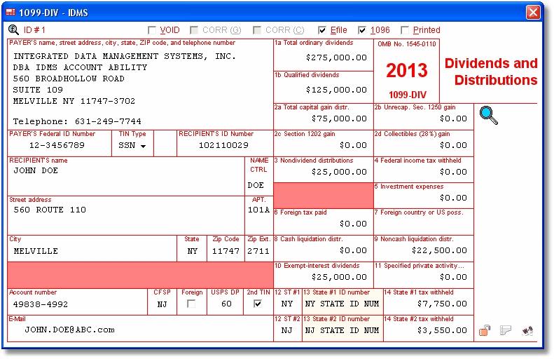 1099 int tax form:
