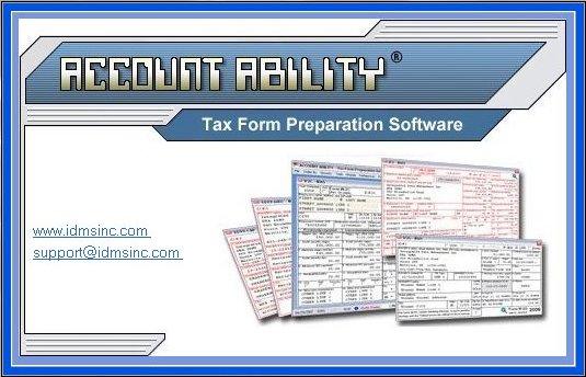 Account Ability Tax Form Preparation Software (www.IDMSInc.com)