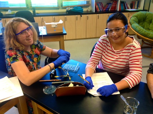 Sophomores Chloe Arnold and Amalie Flo in chemistry class.