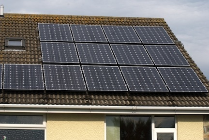 Solar PV panels on residential roof