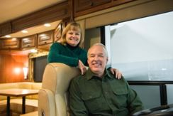 Dream Giveaway winner, Mr. Reddish and wife Cathy inside their 2013 Berkshire RV