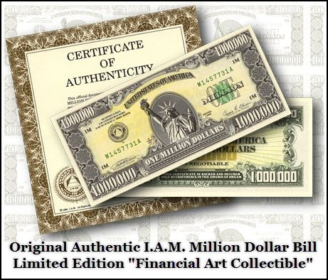 "Tari Steward presents the IAM Million Dollar Bill ""Financial Art Collectible"""