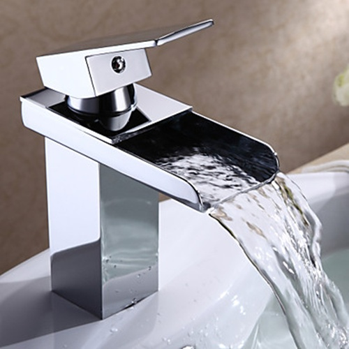 Chrome Finish Modern Single Handle Waterfall Bathroom Sink Faucet