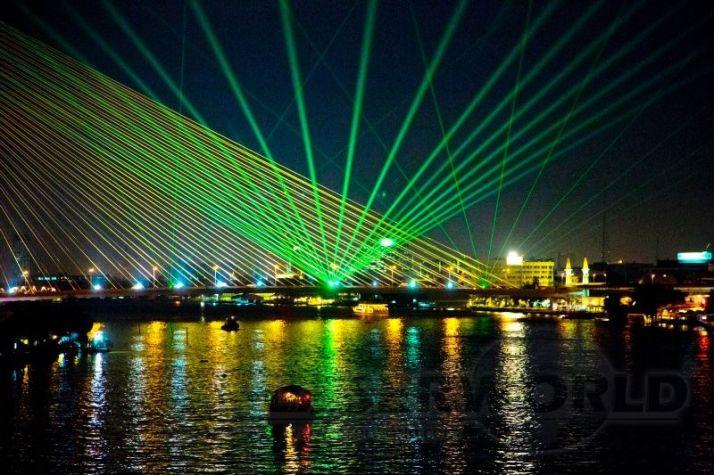 Laser show installation on RAMA VIII bridge in Bangkok, Thailand