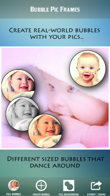Create photo collages on iOS with Bubble Pic Frames.
