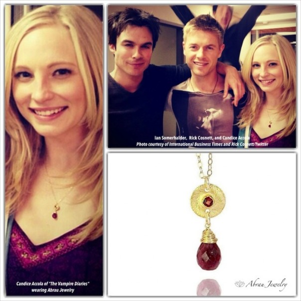 "Candice Accola of ""The Vampire Diaries"" wearing Abrau Jewelry"