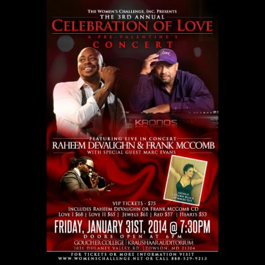 3rd Annual Celebration of Love at Goucher College January 31st
