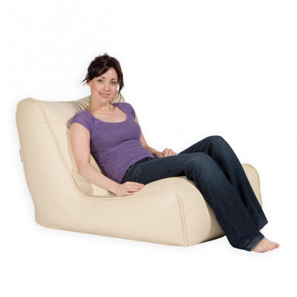 Lo Chair Bean Bag Chair Faux Leather in Cream