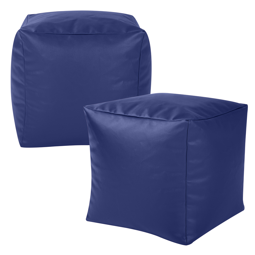 Two Pack Bean Bag Cubes in blue faux leather