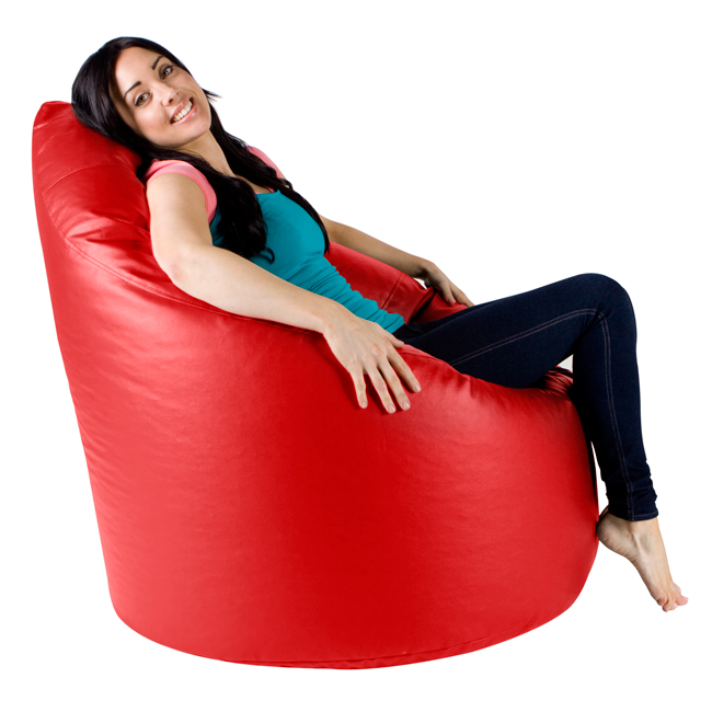 XXL Adult Bean Bag Chair in red faux leather