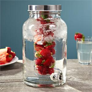 Glass Drink Dispenser with Infuser Insert