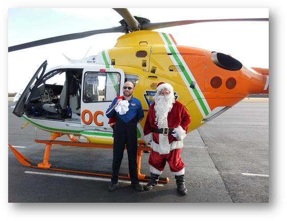 Santa Fournier arrives via helicopter