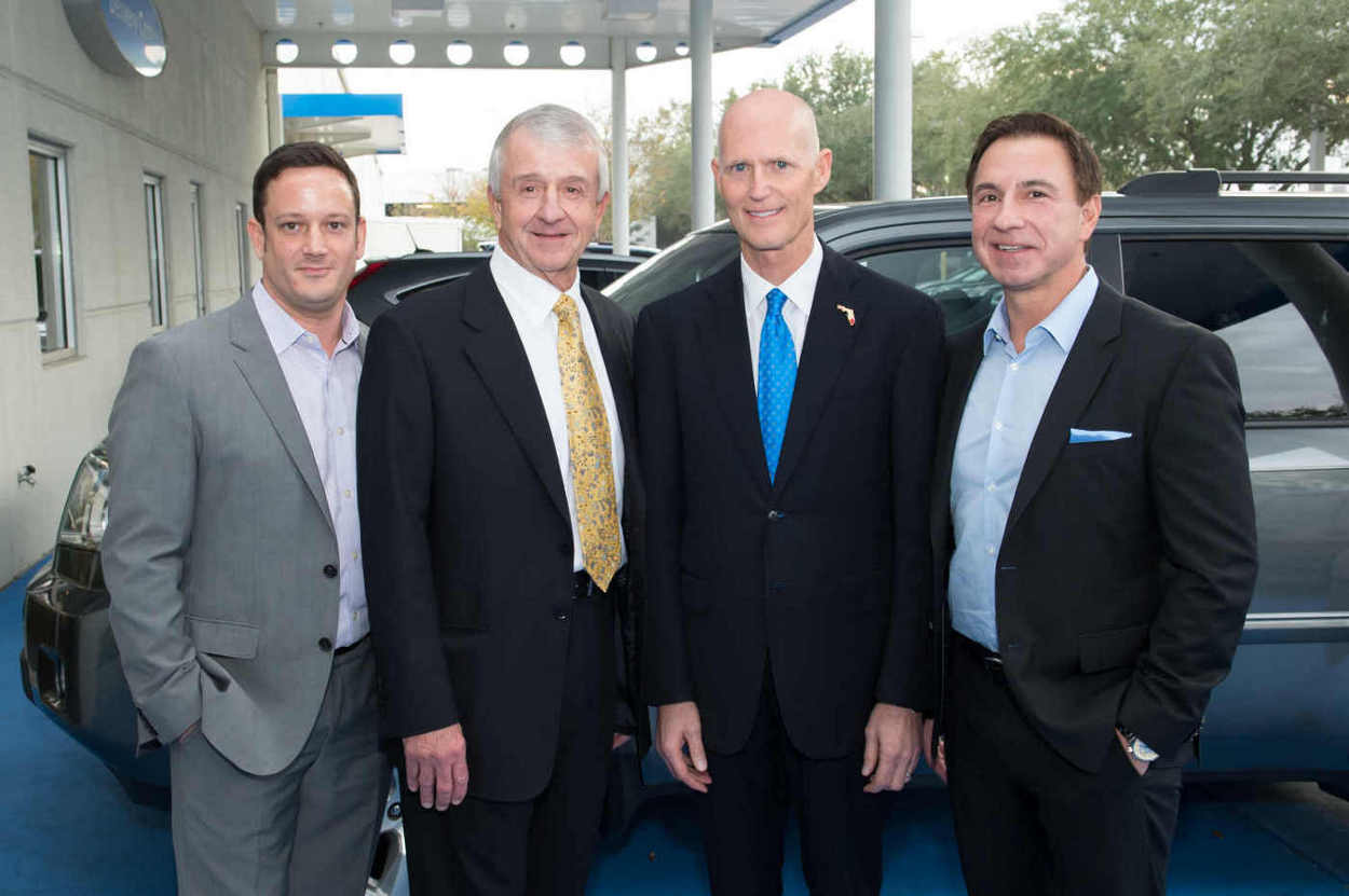 Brett Morgan, Larry Morgan, Florida Governor Rick Scott, and John Marazzi