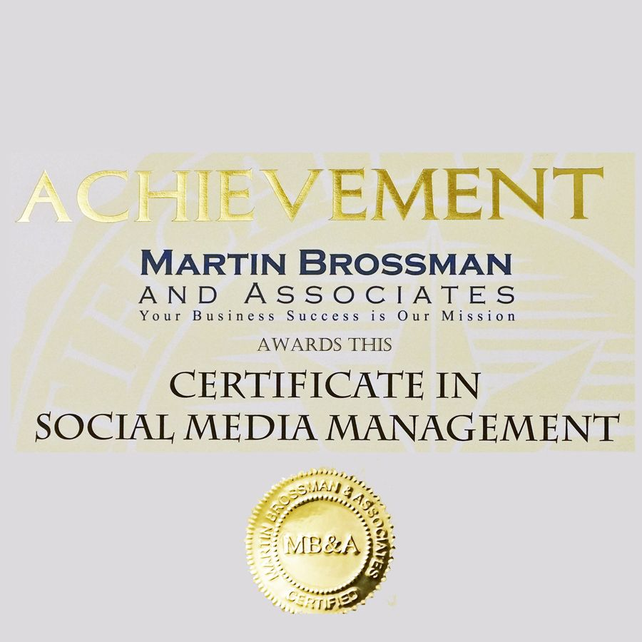 Martin Brossman and Associates Certificate