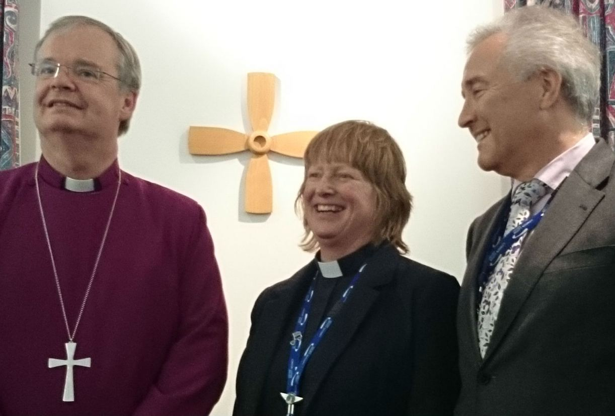 From left: the Bishop of Bedford; Liz Hughes, and Glyn Jones.