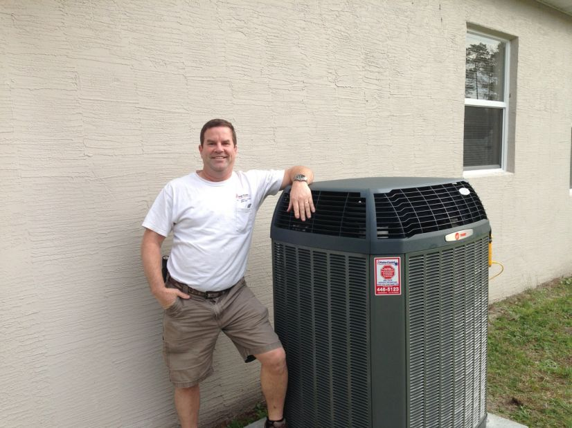 Doug Jahn with the new Trane Variable Speed Pump System.
