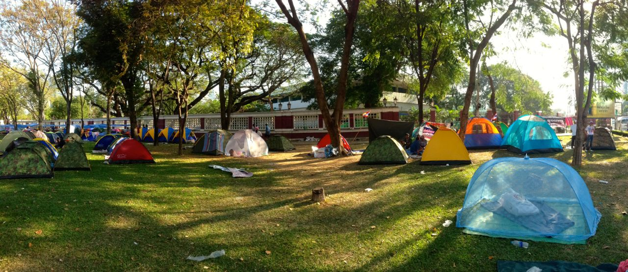 Many demonstrators rely on their tents (Image: Sala Daeng)..