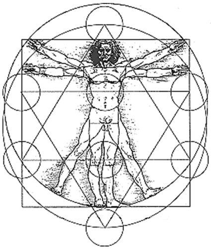 Da Vinci's Vitruvian Man overlaid with Sacred Geometry shapes.