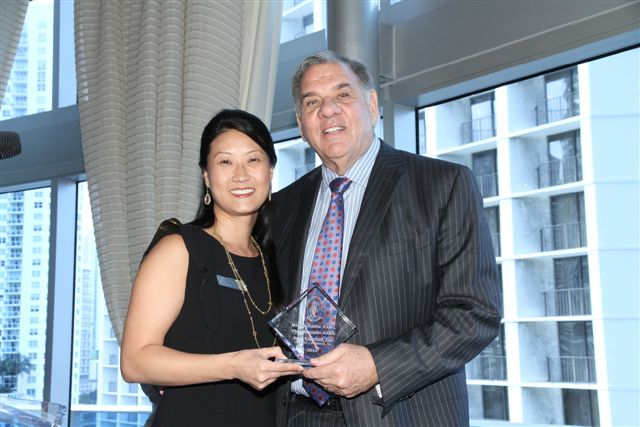 Katie Phang and Ira Leesfield with FAWL award