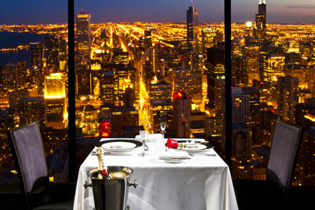 The Signature Room offers a gorgeous backdrop for your romantic night.