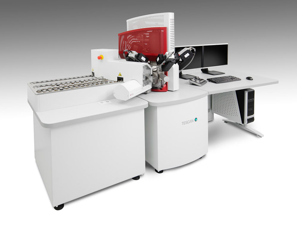 The TESCAN Integrated Minerals Analyzer (TIMA with new automated sample loader.