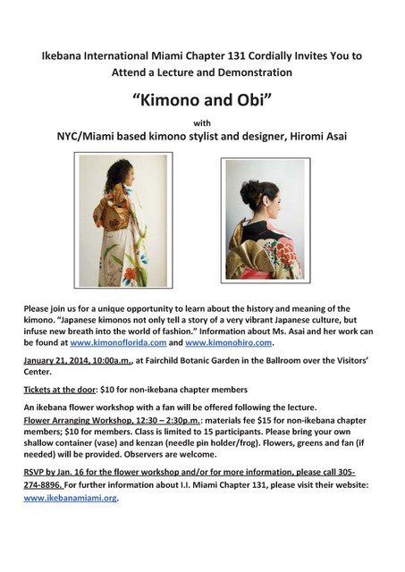 Kimono Lecture and Demonstration in Florida