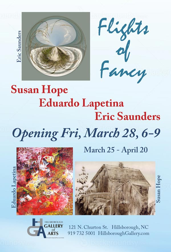 """Flights of Fancy"" March 24th - April 28th at the Hillsborough Gallery of  Arts"