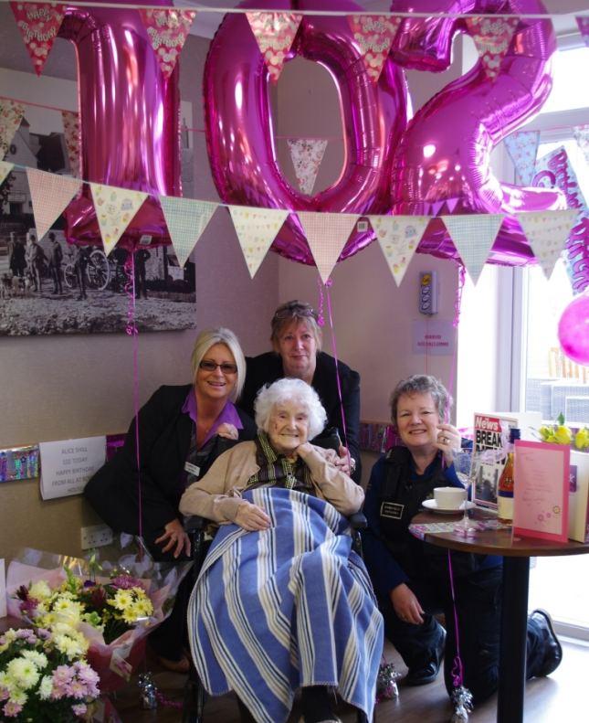 Alice Shill celebrating her 102nd birthday.