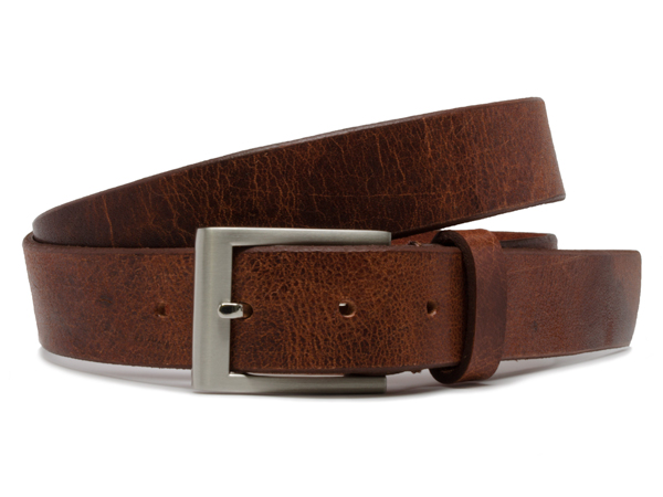 Nickel Free Silver Square Tan Genuine Leather  Unisex Belt