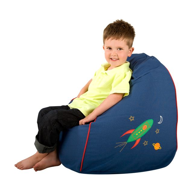 Washable Embroidered Cotton Kids Bean Bag - Space