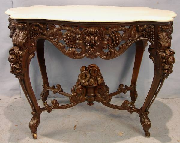 This gorgeous J. & J.W. Meeks marble-top parlor center table sold for $33,350.