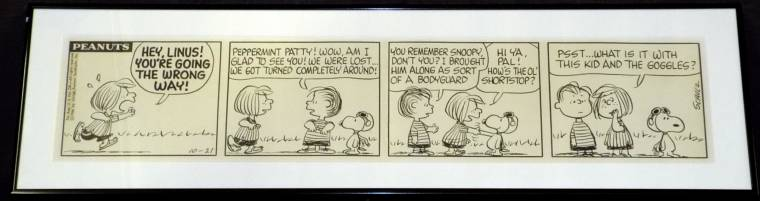 This Peanuts comic strip from 1966, drawn by Charles Schulz, sold for $26,450.