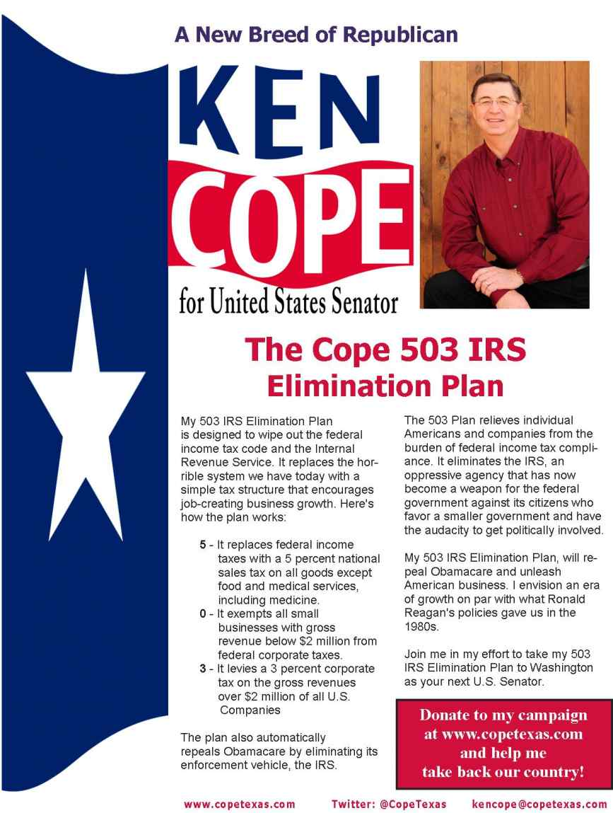 Ken Cope for US Senate 503 Tax Plan