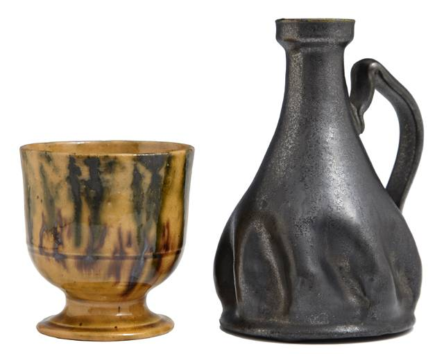 This pottery cup and candlestick by George Ohr will come up for bid Feb. 15-16.