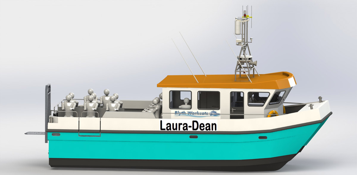 CAD image of the Laura Dean, the new boat for Mevagh Dive Centre
