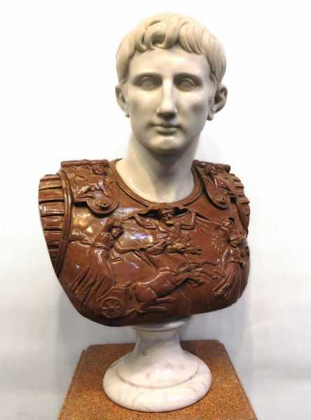 This carved marble bust of Augustus Caesar, 32 inches tall, will be sold March 4