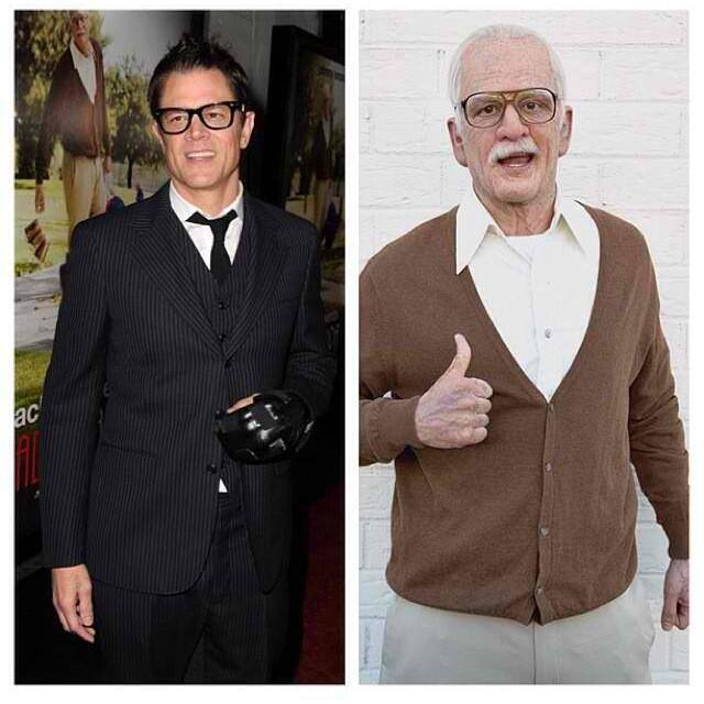 Johnny Knoxville before and after his makeup effects transformation into Irving.