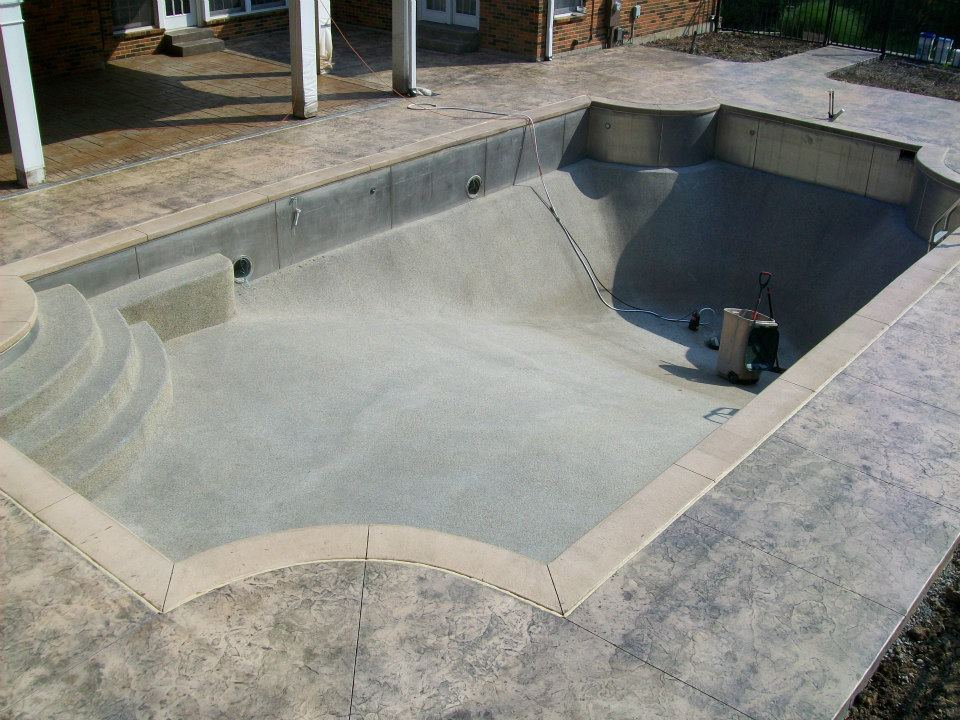 Stamped concrete pool deck by Award Winning T & H Foundations in Chesterfield MO