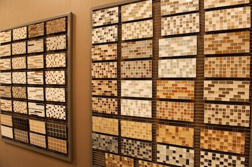 Bedrosians Tile and Stone showcases products on Banker Wire mesh.