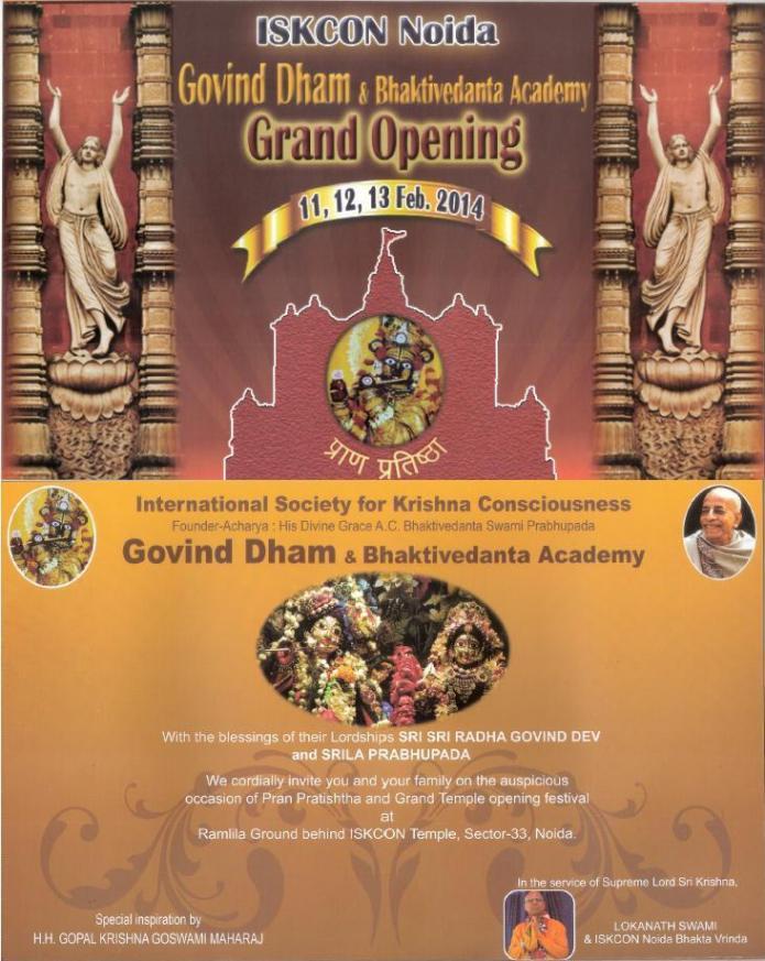 Invitation - Grand Opening of ISKCON Temple, Noida